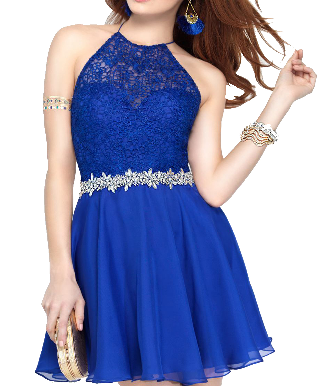 J139 Halter Short Prom Dress, Backless Homecoming Dress, Royal Blue ...