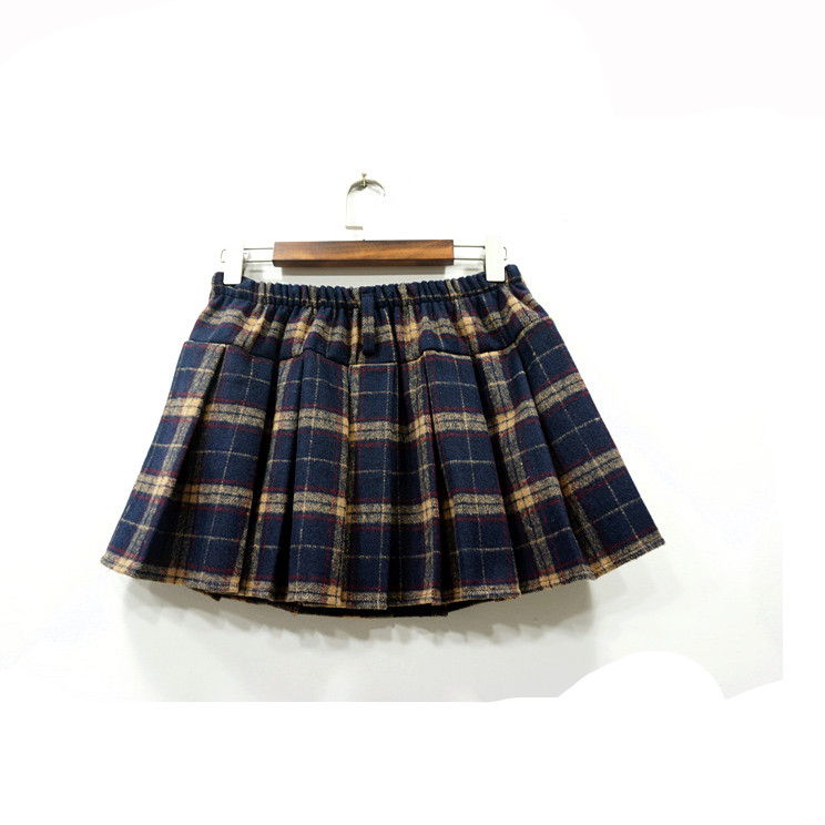 japanese lovely grid pleated skirts 183 fashion