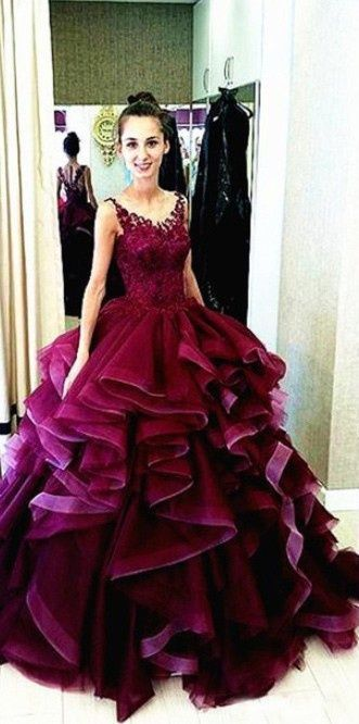 Wine Red Prom Dress Ball Gown New Arrival Modest Corset Fitted Gorgeous Burgundy Prom Gowns On