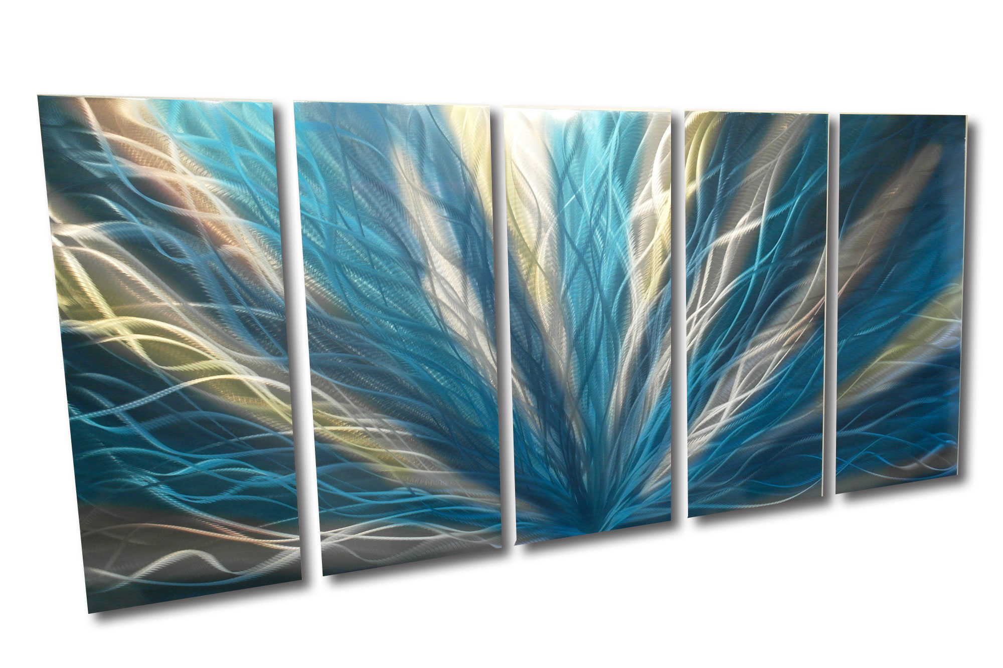 Radiance teal 36x79 metal wall art abstract sculpture for Teal wall art