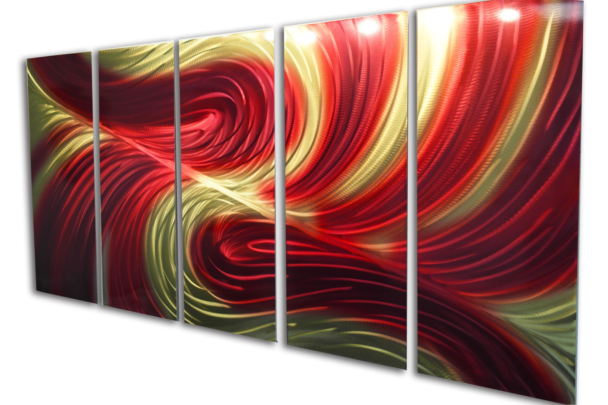 Red And Gold Metal Wall Art Echo Red Gold 36X79Metal Wall Art Abstract Sculpture Modern Decor