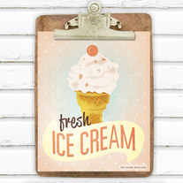 Fresh Ice Cream Retro Style 8x10 Digital Art Print