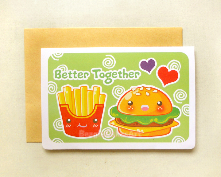 Cute Hamburger and Fries Better Together 4x6 Notecard Sweet – Food Valentines Cards