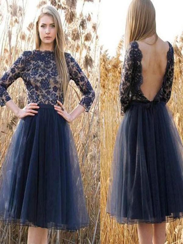 Short prom dress,long sleeve prom dress,navy blue prom dress,prom ...