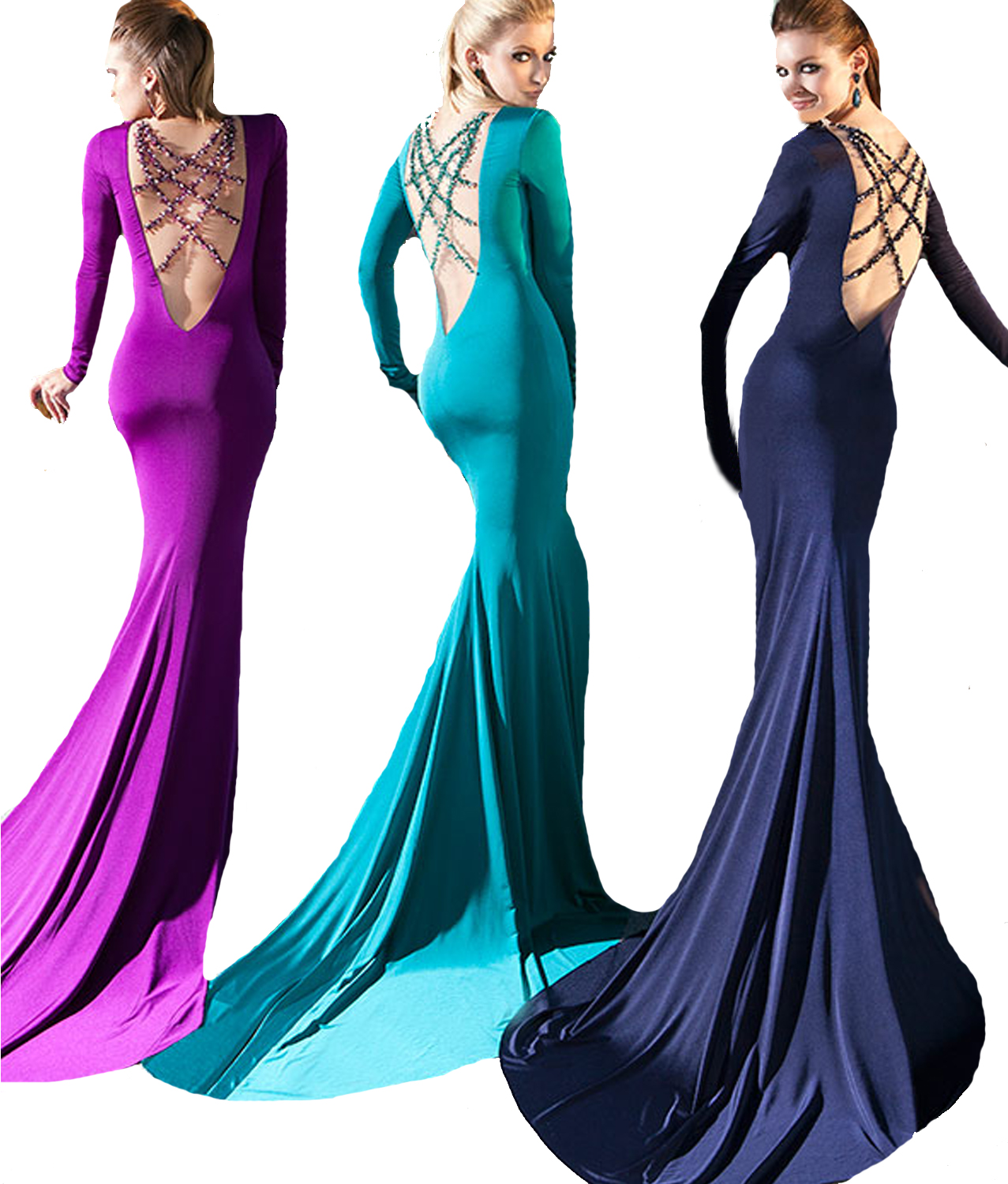 J167 Backless Elegant Long Evening Dress 2016 Mermaid, Long Sleeve ...