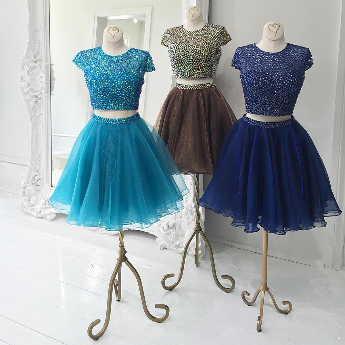 Jewel Neck Organza Homecoming Dress, Two Piece Homecoming Dress with ...