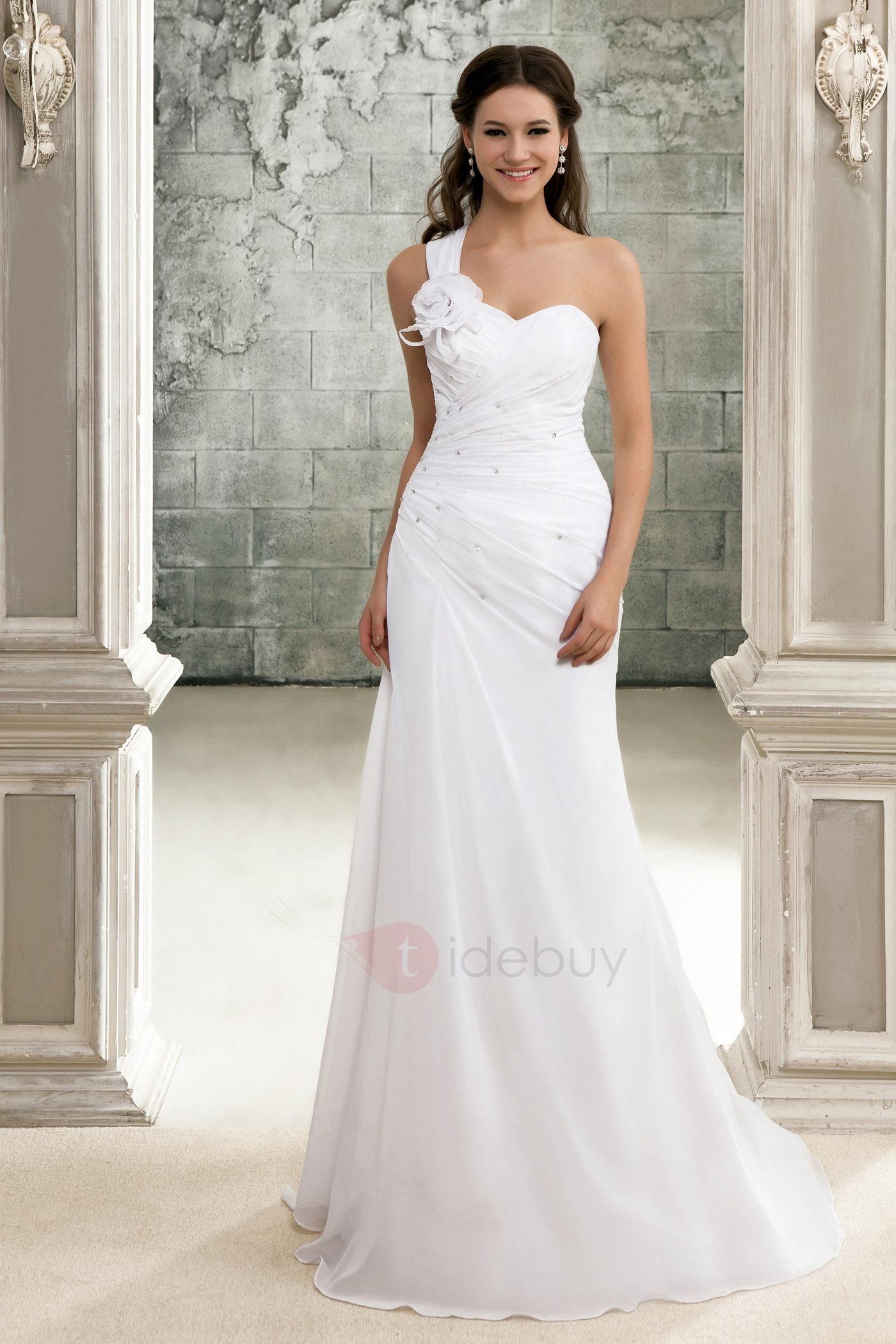 Wedding Dress Mermaid One Shoulder White Handmade Flower Satin Long ...