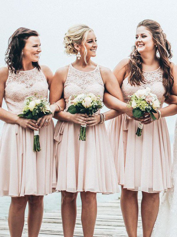 Short Bridesmaid Dress,lace Bridesmaid Dress,summer Beach Wedding Party  Dress,cheap Bridesmaid