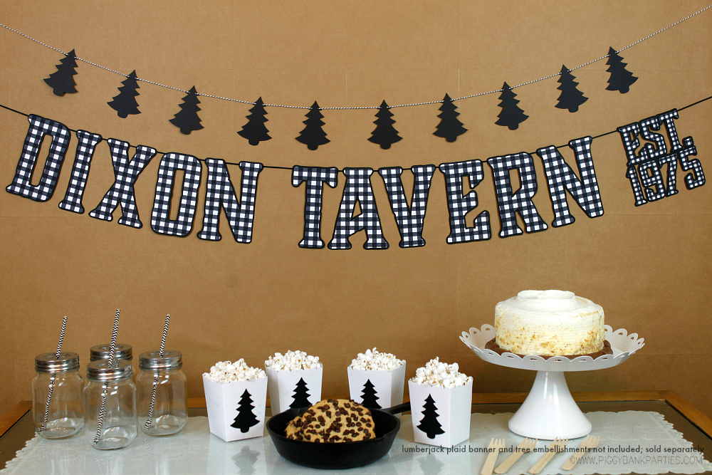 Black pine tree garland handcrafted lumberjack birthday for Alpine decoration