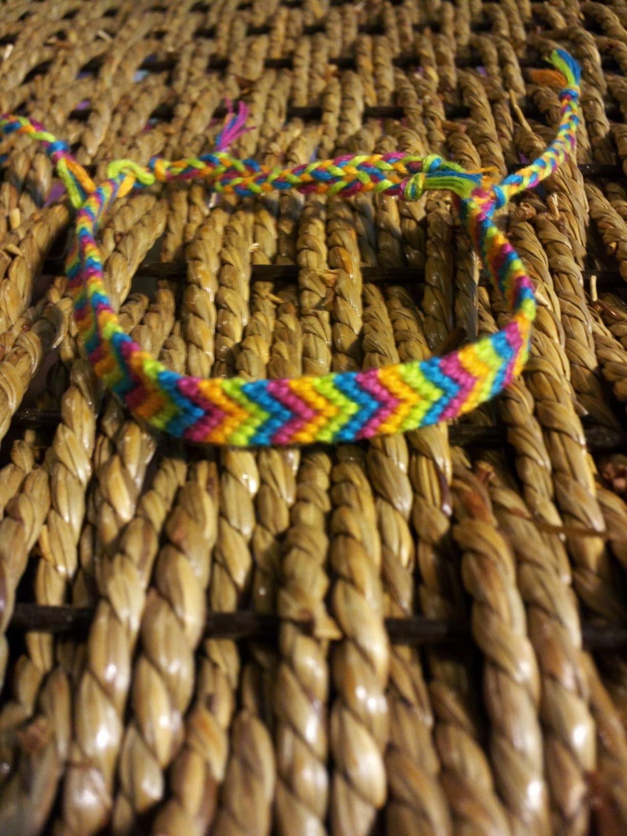 Chevron bracelet - Nate Orange Lime Green Blue And Purple Chevron Friendship Bracelet