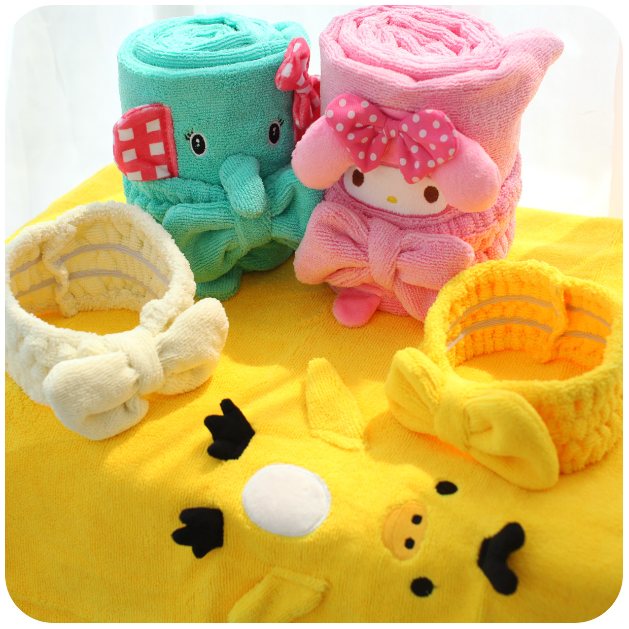 Cute bath towel and headband circus bear and elephant bath for Cute bath accessories