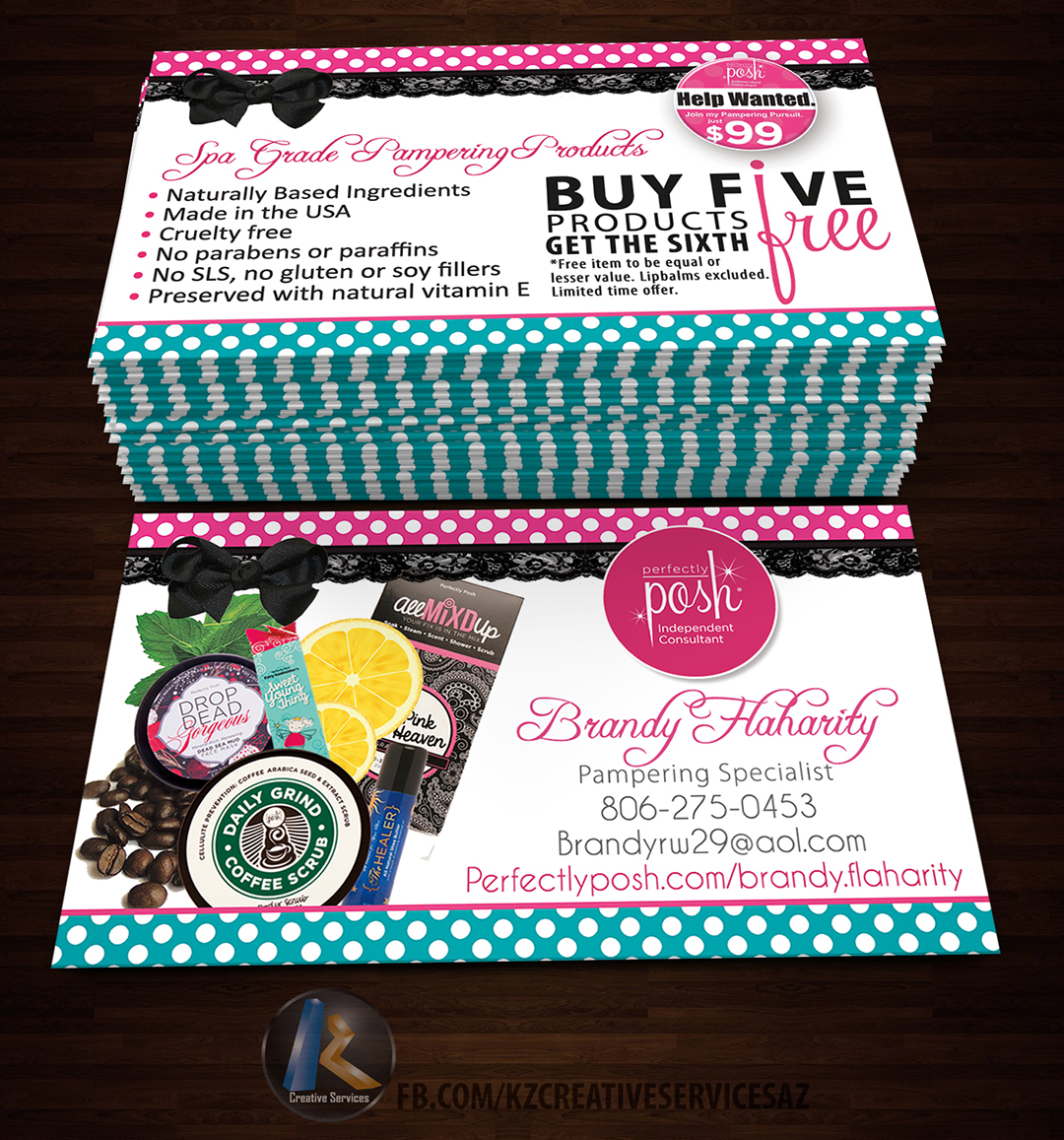 Perfectly Posh Business Cards 25 Kz Creative Services Online