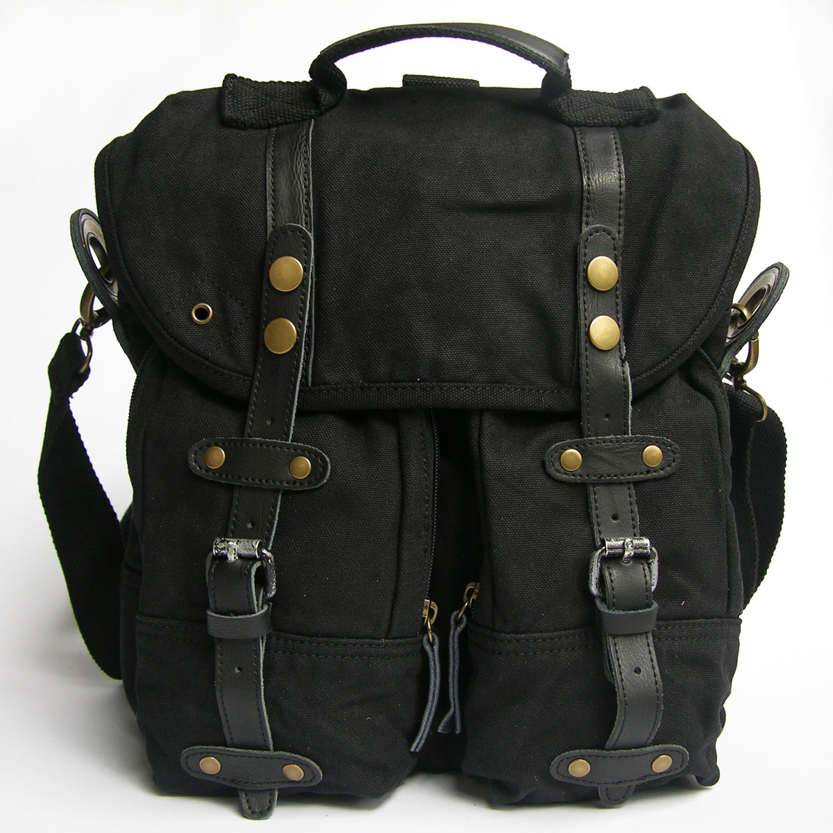 Black Superior Genuine Cow Leather Canvas Bag Leather Briefcase ...