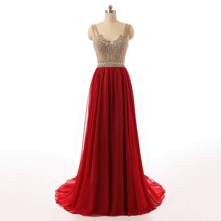 Hot Red Long Prom Dresses with Sweep Train, A-line Tulle Prom ...