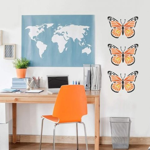 Monarch butterfly wall art stencil size medium for Butterfly design on wall
