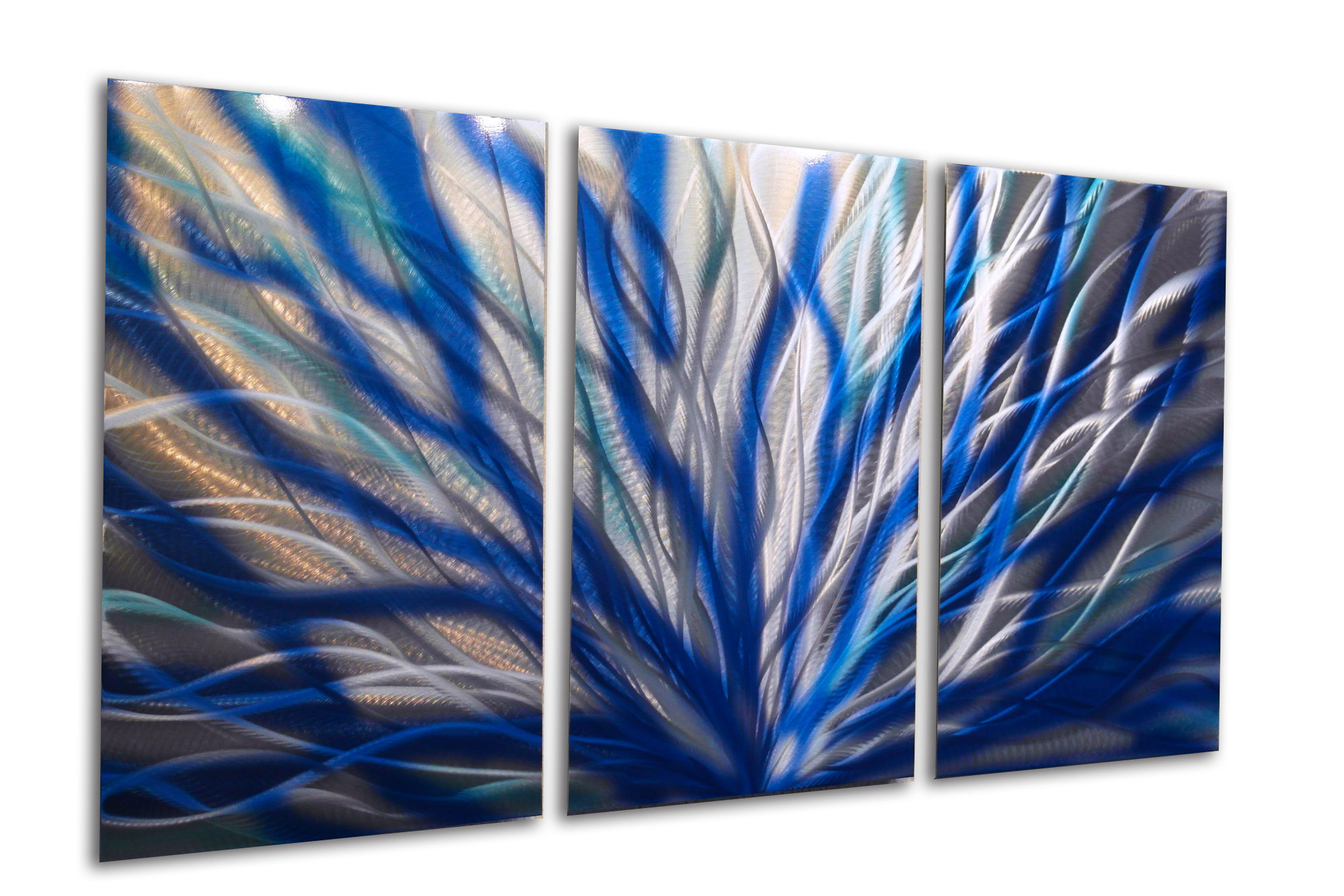 Blue Metal Wall Art Extraordinary Radiance Blue 47 V2  Metal Wall Art Abstract Sculpture Modern Review
