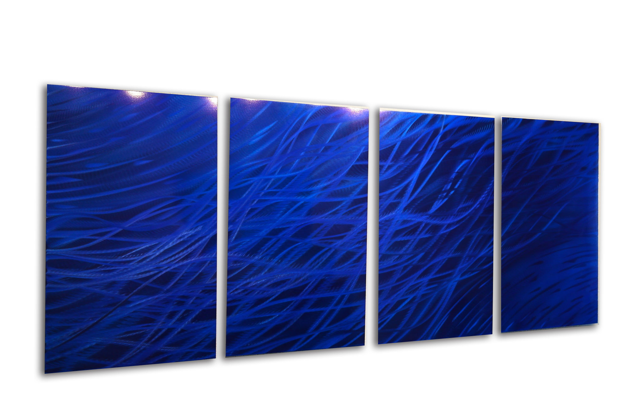 Blue Metal Wall Art ocean dark blue - metal wall art abstract sculpture modern decor