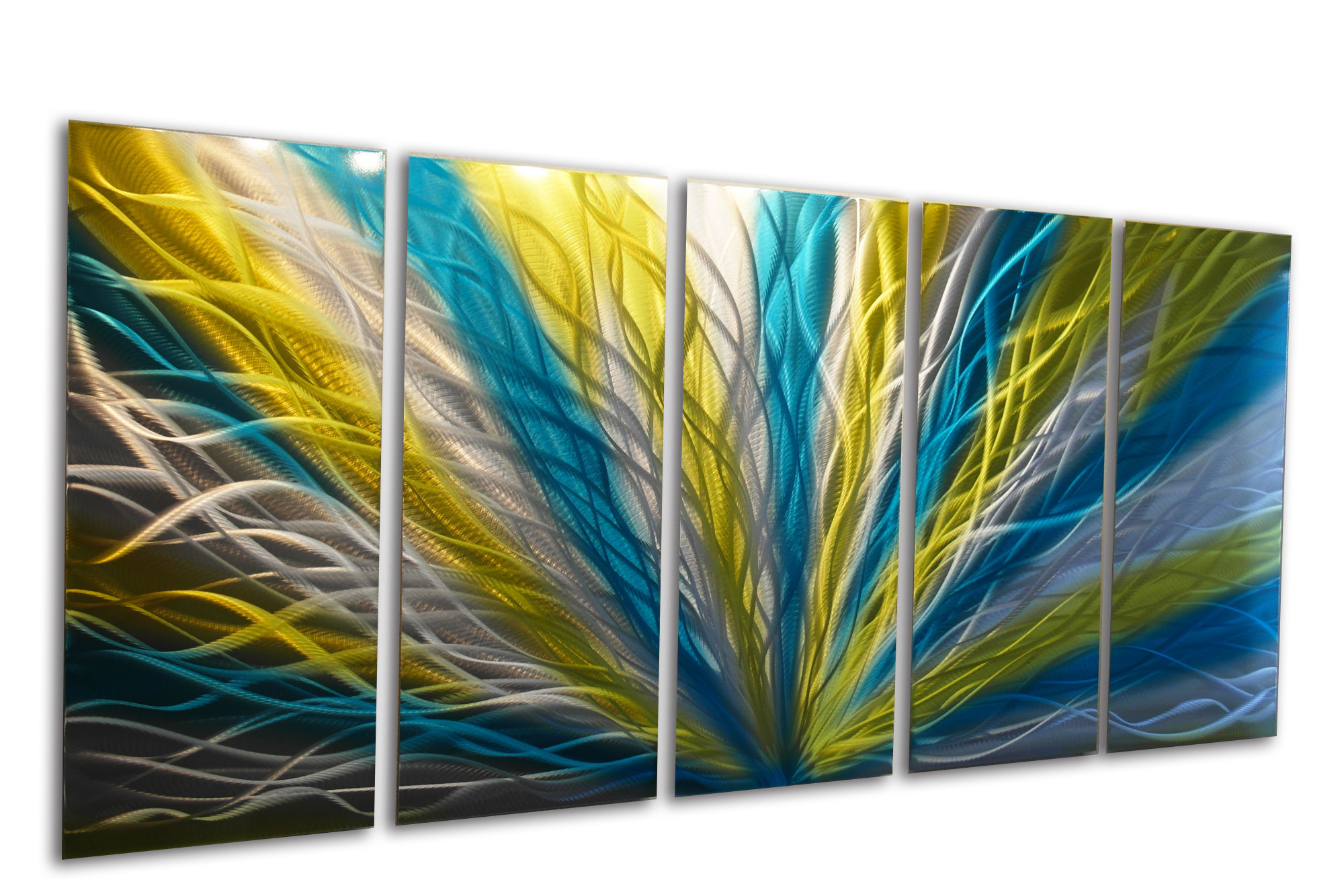 Radiance Blue Yellow 36x79   Metal Wall Art Abstract Sculpture Modern Decor