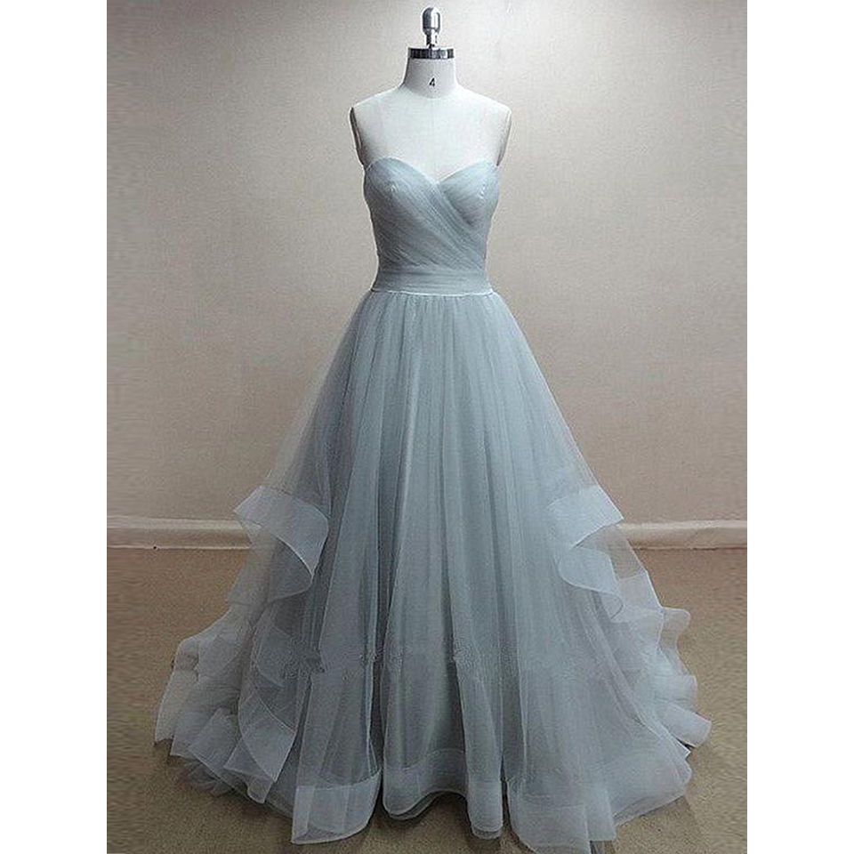 Princess Sweetheart Light Gray Long Prom Dress, Elegant A-line ...