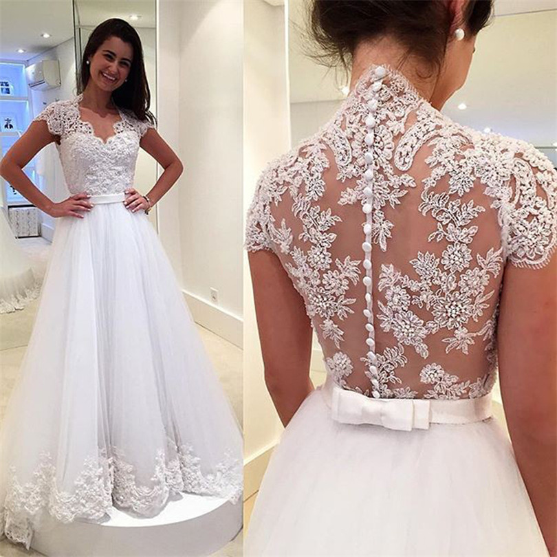 W48 Vintage Bridal Lace Wedding Dresses Bride with Short Sleeves ...