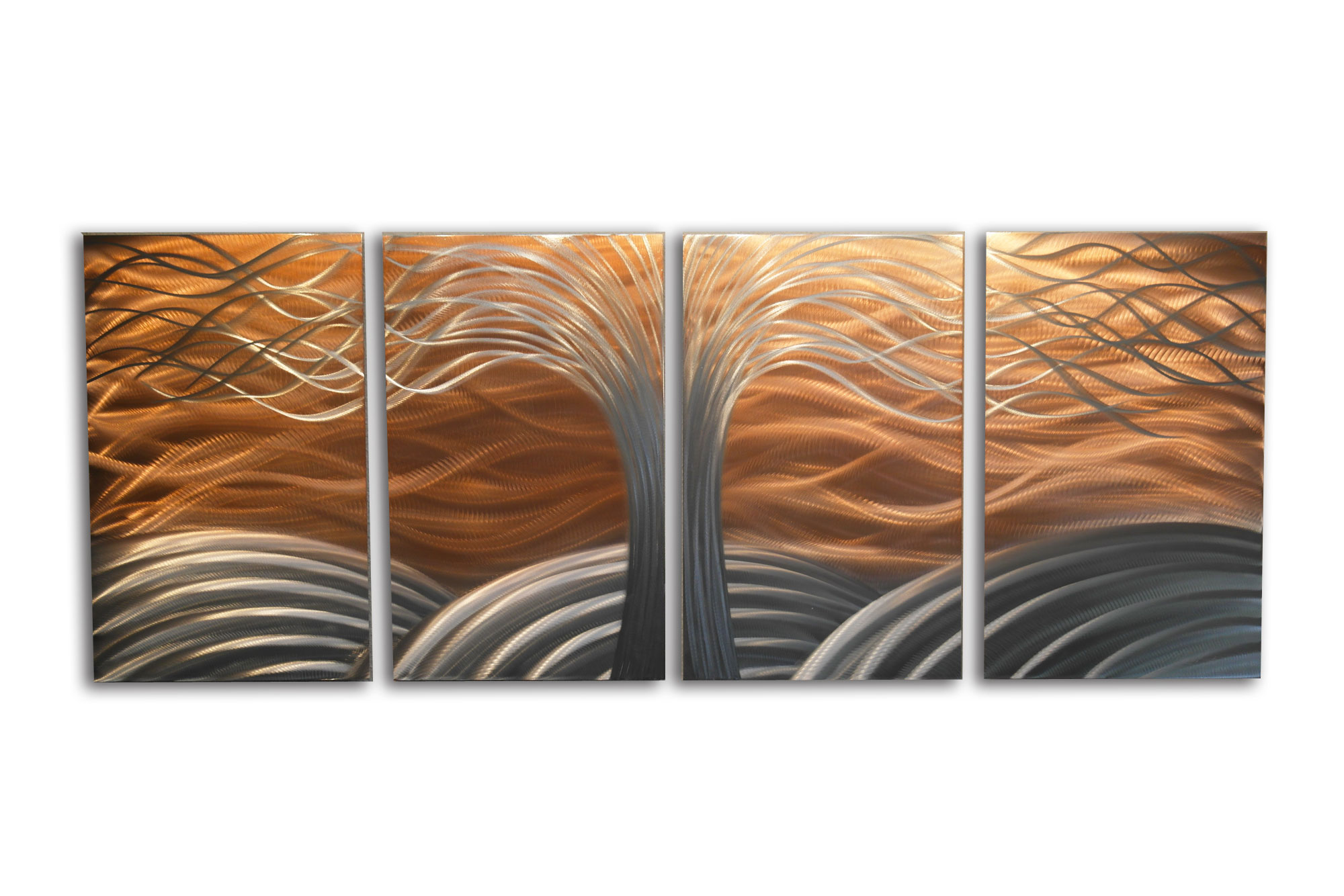 Tree of Life Bright Copper Metal Wall Art Abstract Sculpture