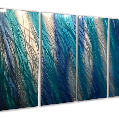 Reef Blue 36x63 - Metal Wall Art Abstract Sculpture Modern Decor ...