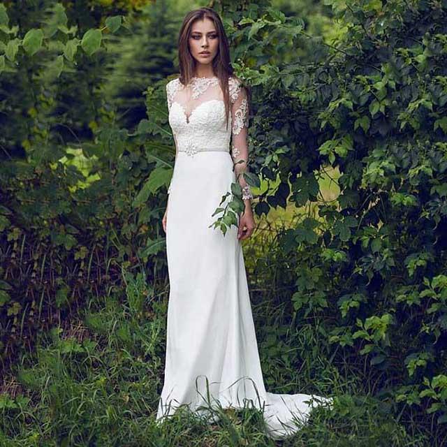 Jewel Neck Illusion Long Sleeves Lace Wedding Dress, White Trumpet ...