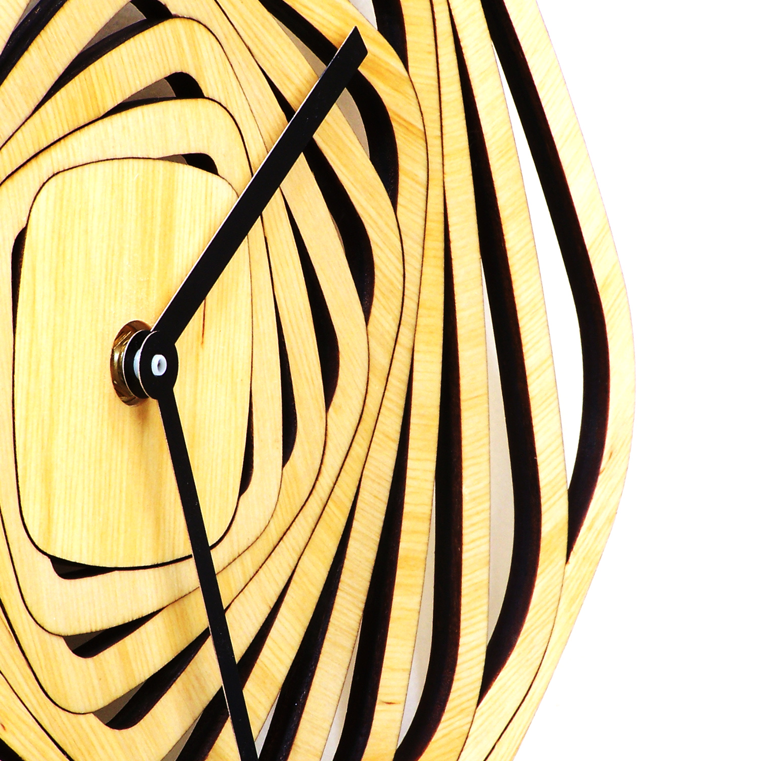 Whirl - contemporary modern wall clock made of wood, wooden clock ...