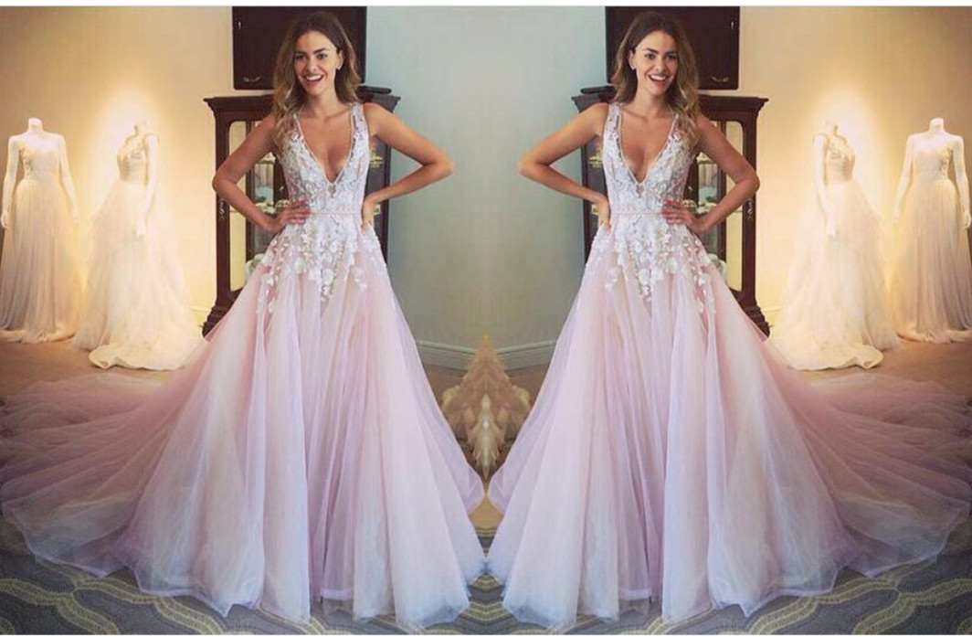 Deep V-neck Lace Tulle Prom Dress,Fairy Lace Ball Gown,HC1781 ...