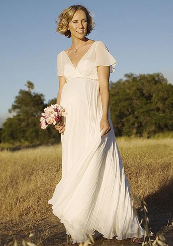 Custom Made V-neck Chiffon Maternity Wedding Dresses Short Sleeve ...