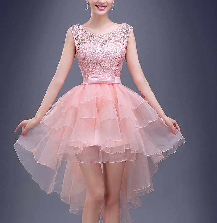 Little Cute   Charming A-line pink lace high-low short prom dress ...