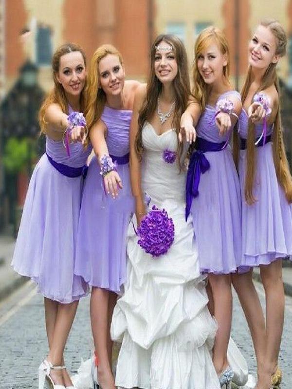 Short Bridesmaid Dress, Lavender bridesmaid dress,One Shoulder ...