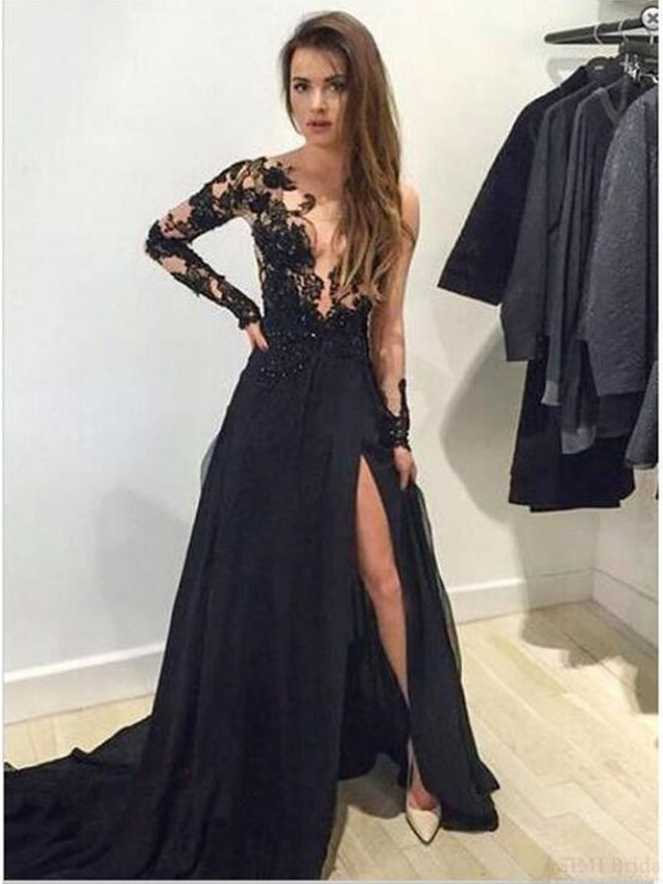 Long sleeve lace prom dress, Black V-neck prom dress, Sweep Train ...