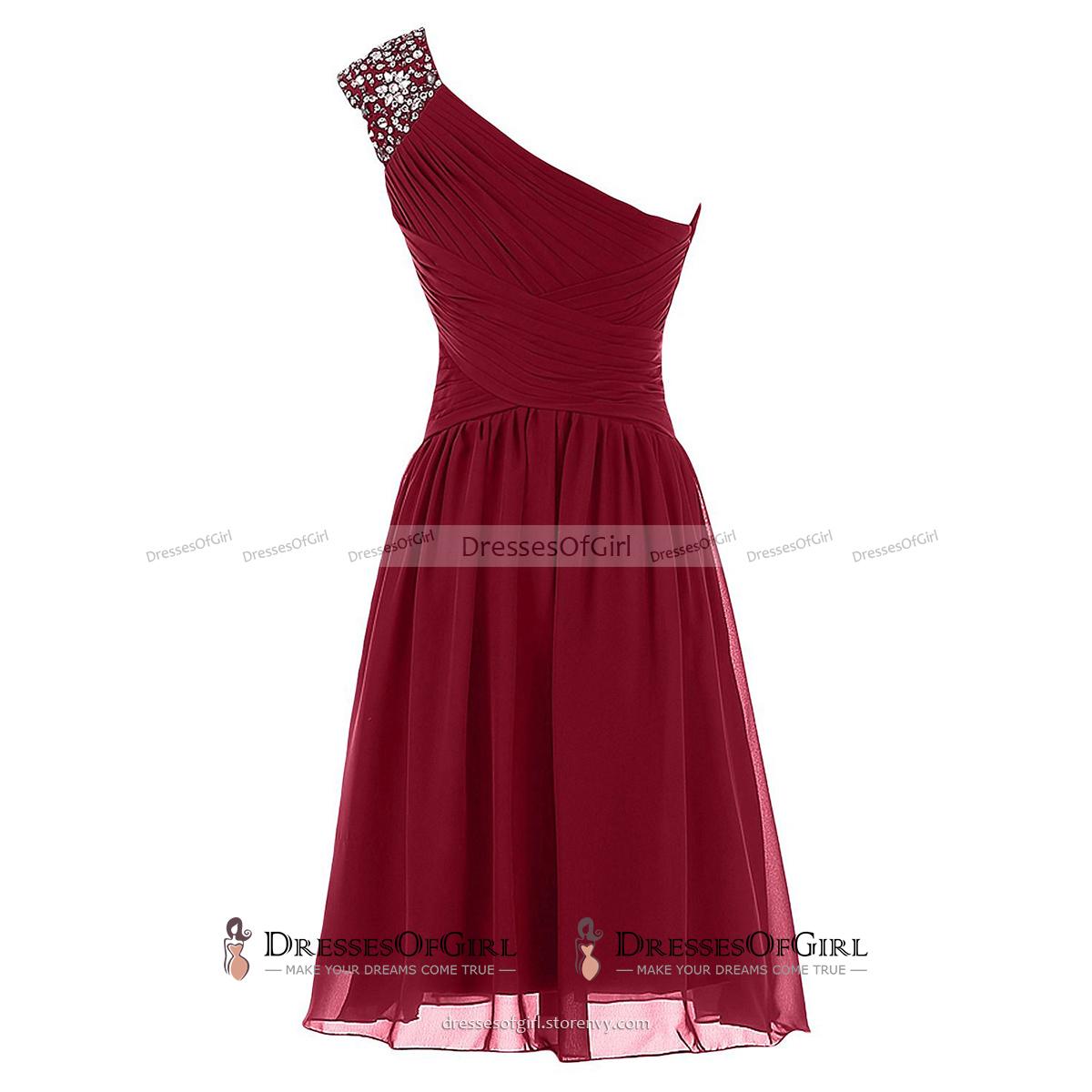 Crystal Beaded One Shoulder Ruched Short Prom Dress, Burgundy A-line ...