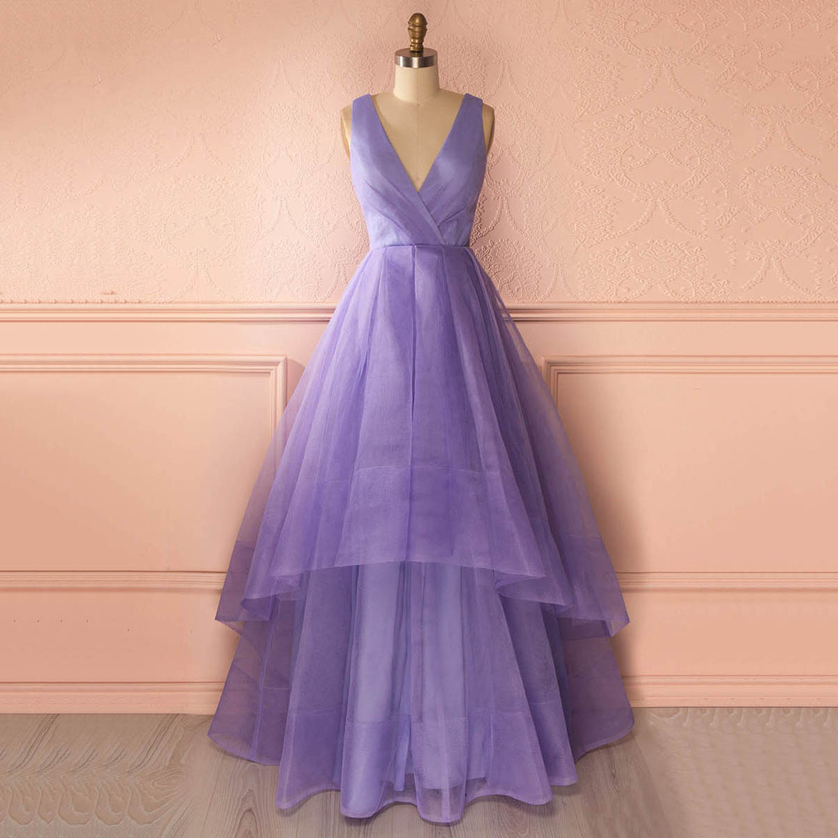 Unique Deep V Neck Floor Length Prom Dress, Lavender Organza ...
