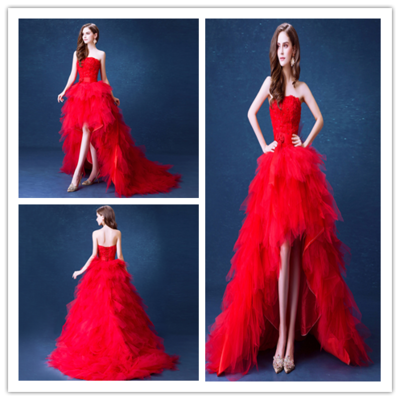 A15 Red Wedding Dresses, The Bride Married Lace Flower Strapless Short  Front Back Long Plus
