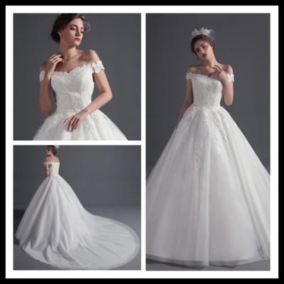 A21 Plus Size Bride Wedding Dress New Fashion White Lace Long Tail V