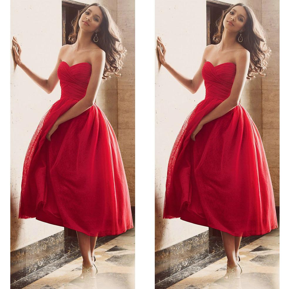 Red prom dresses, tea length prom dresses, sweet heart prom dresses ...