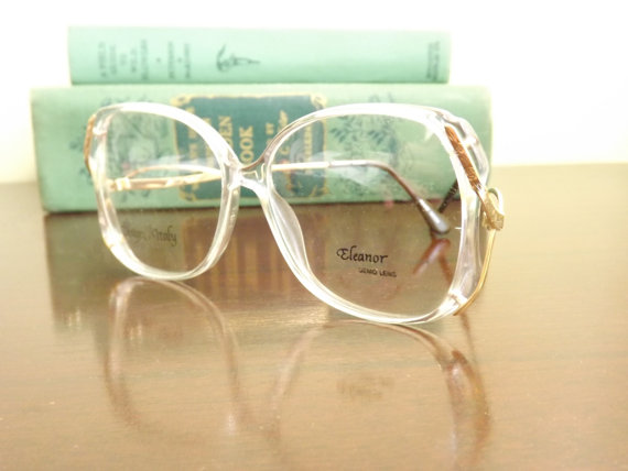 Big Womens Eyeglasses, Funky 1980s White See Through Clear and Gold ...