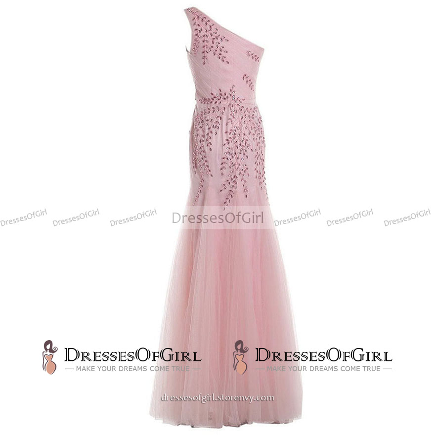 Fairytale Asymmetric One Shoulder Long Prom Dress, Flower Beaded ...