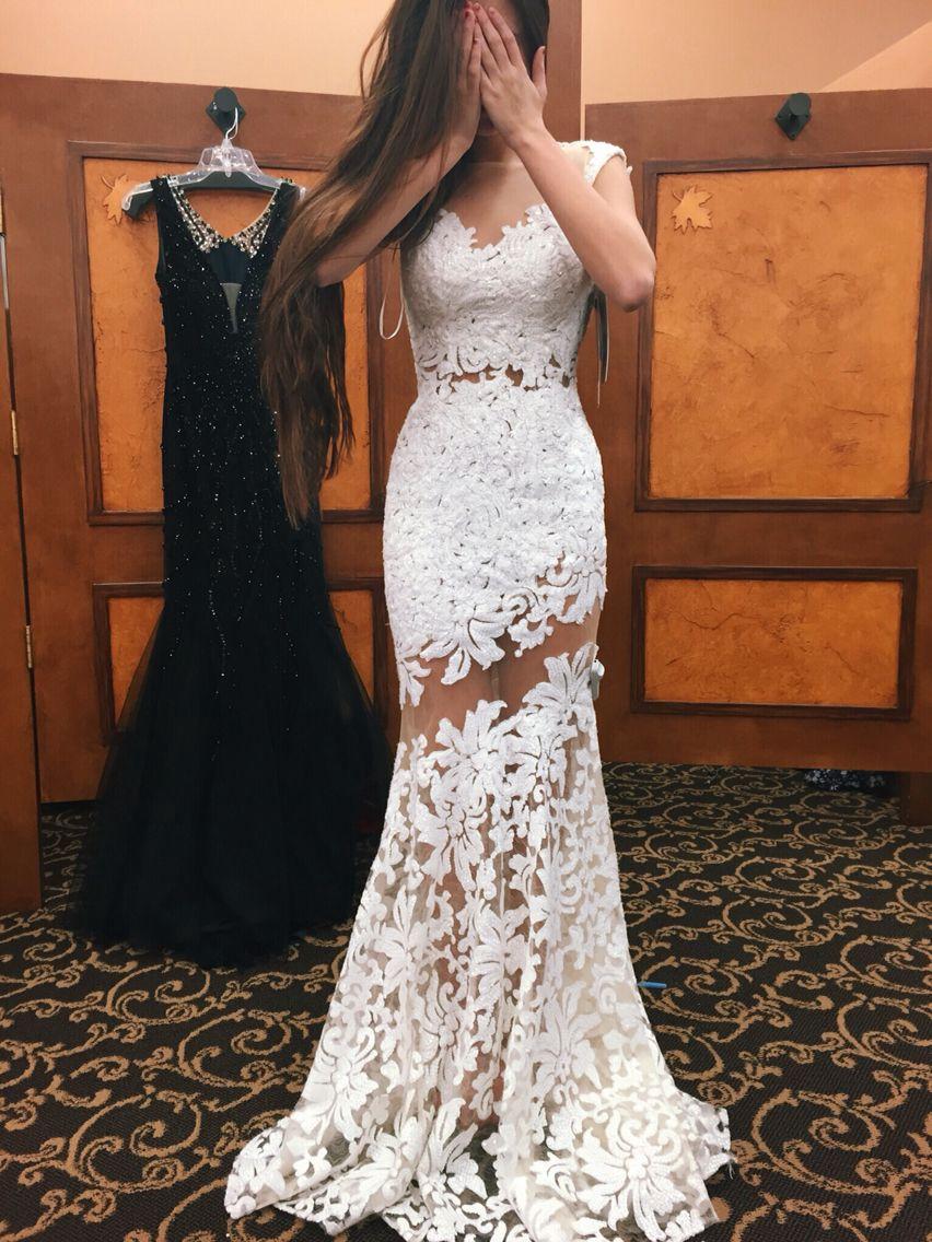 White mermaid lace mesh prom dress for teen,2017 formal dresses ...
