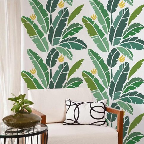 Banana Leaf Allover Stencil Great For A Tropical Room