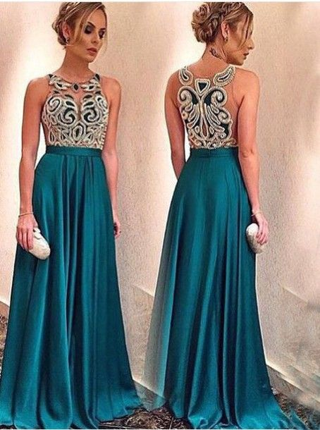 Dark Green Prom Dress,Appliques Prom dress,Illusion Prom dress,Satin ...