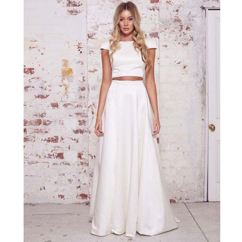 Ivory Two Piece Cap Sleeve Bridesmaid Dresses Cheap