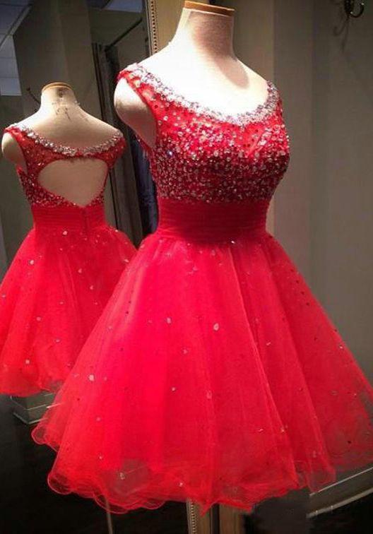 Charming Homecoming Dress,Beading Homecoming Dress,Tulle Graduation ...