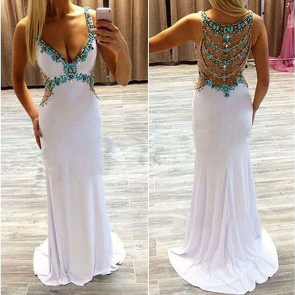 White 2017 Prom Dresses Long Turquoise Crystals V-Neck Open Back ...