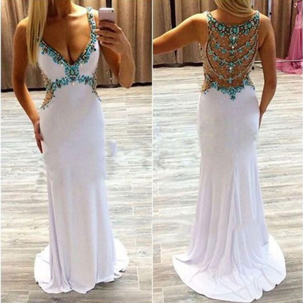 White 2017 Prom Dresses Long Turquoise Crystals V-Neck Open Back ...