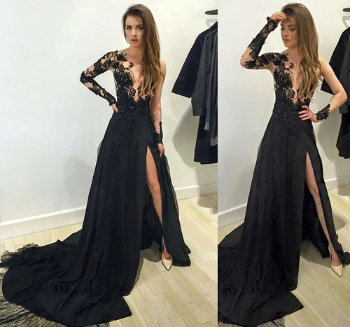 Long sleeve black lace prom dresses