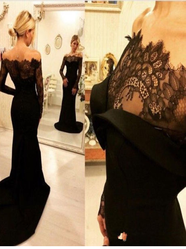 Long Sleeve Black Prom dress, Lace prom dress, Mermaid prom dress ...