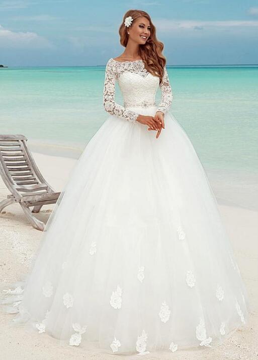 Fabulous Lace Bateau Neckline Ball Gown Wedding Dresses With Lace ...